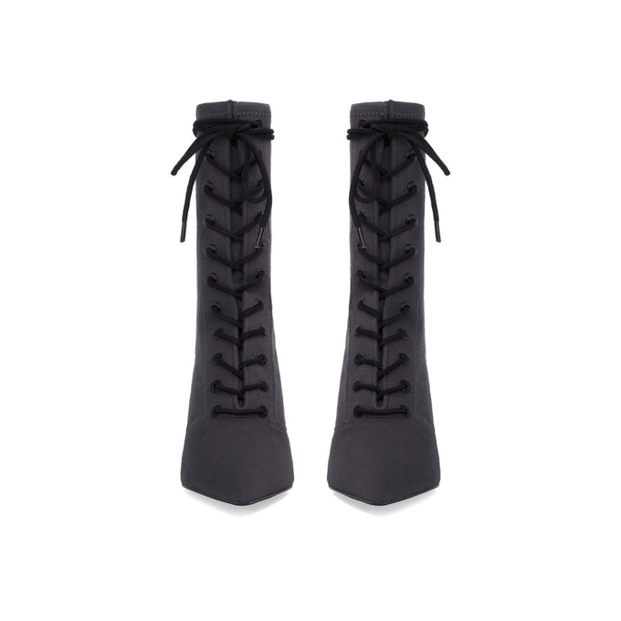 Stretch Canvas Lace Up Boot Graphite