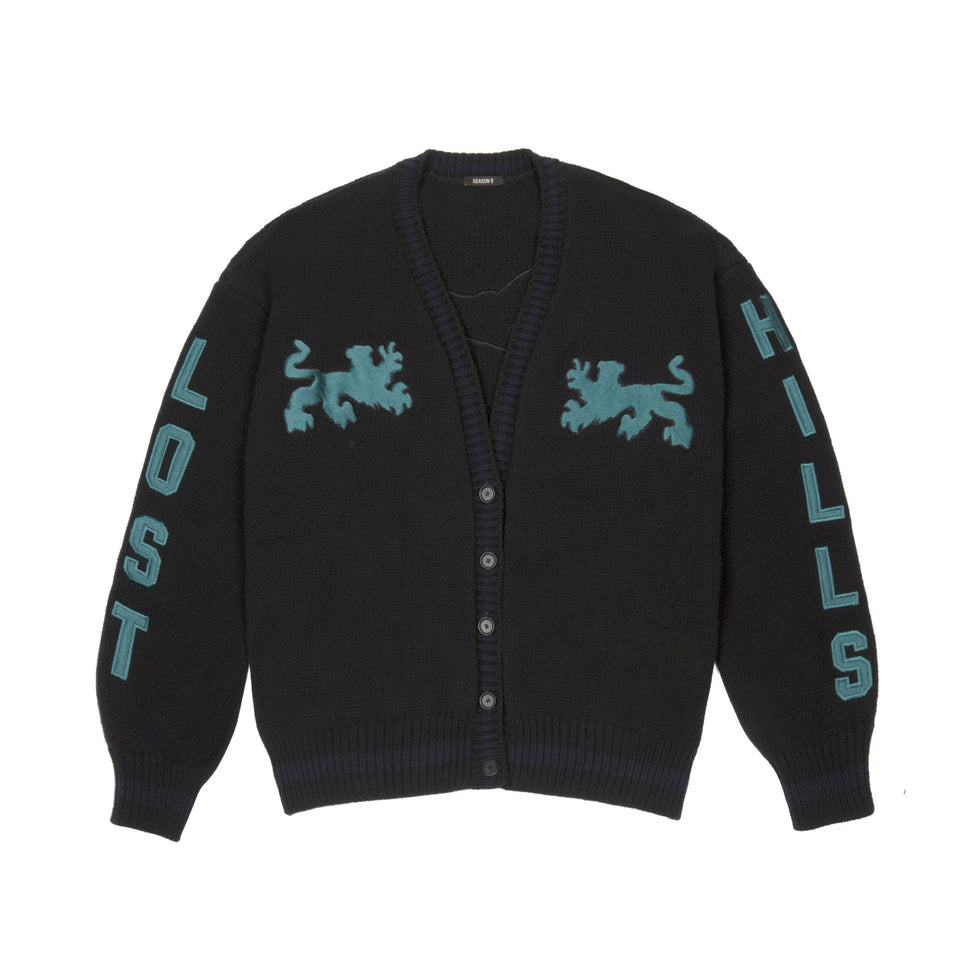 Graphic Cardigan Ink Petroleum