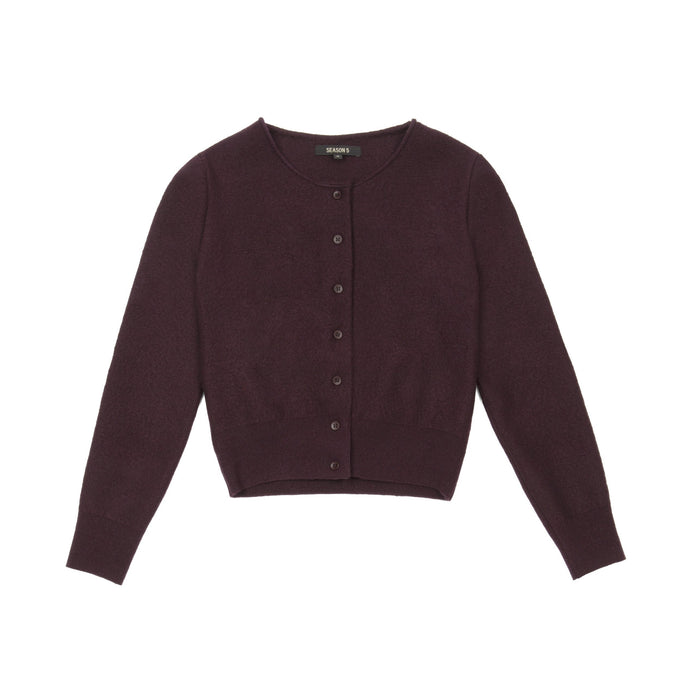 WOMENS SHRUNKEN CARDIGAN OXBLOOD