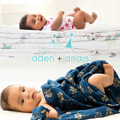Aden + Anais super soft and silky swaddles, blankets, and Footies.