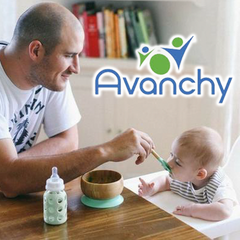 Avanchy bamboo and silicone bowls and spoons for babies.