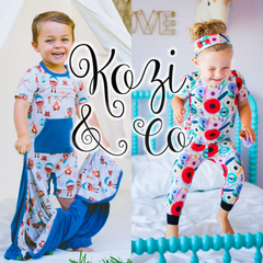 Kozi and Co rompers, footies, and pajamas for children and babies.
