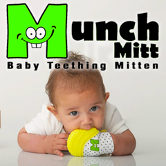 Munch Mitt teething mittens for babies and toddlers.