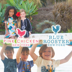 Pink Chicken and Blue Rooster clothing for children and babies.