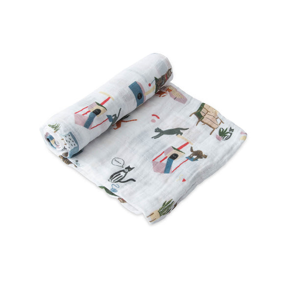 Meow Cotton Muslin Swaddle