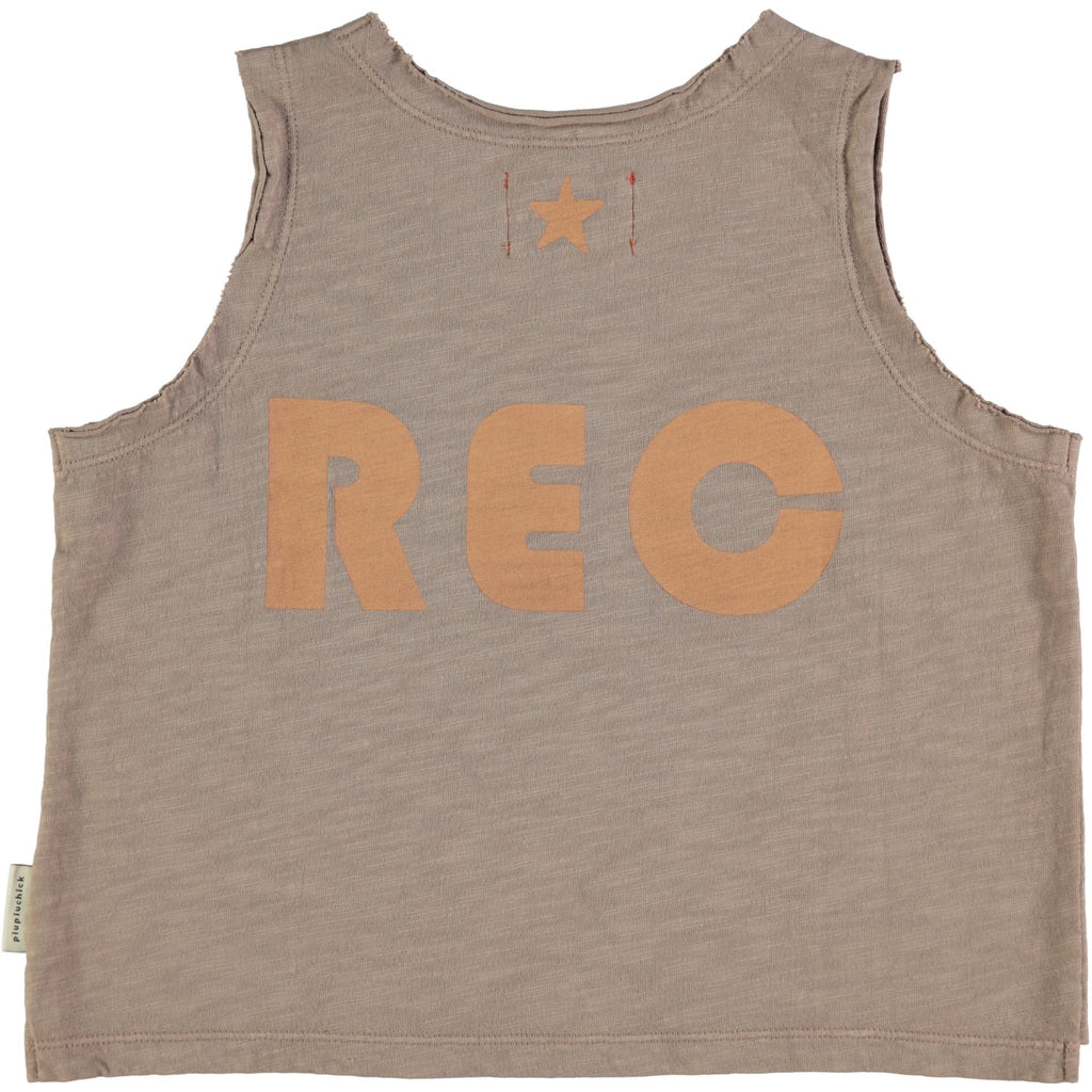 Taupe with Peach Print Sleeveless T-Shirt