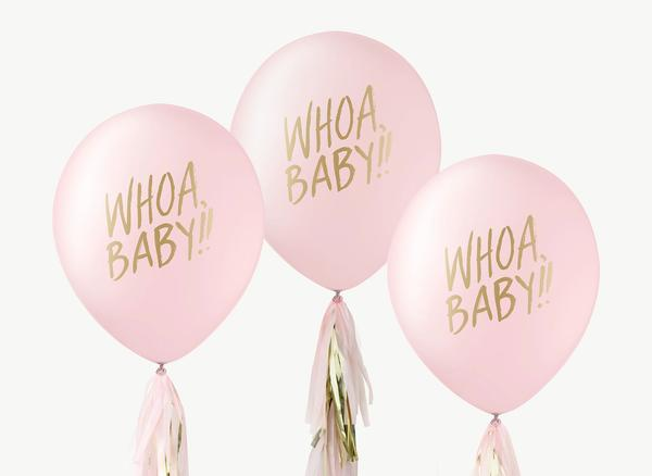 Whoa Baby Gold on Pink Balloons Set of 3