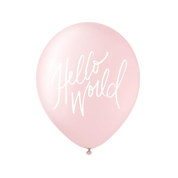 Hello World White on Pink Balloons Set of 3