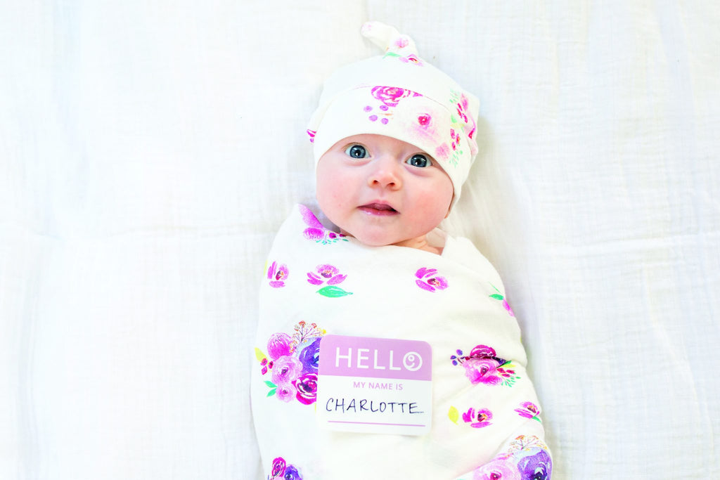 Posies Hello World Hat and Swaddle Set
