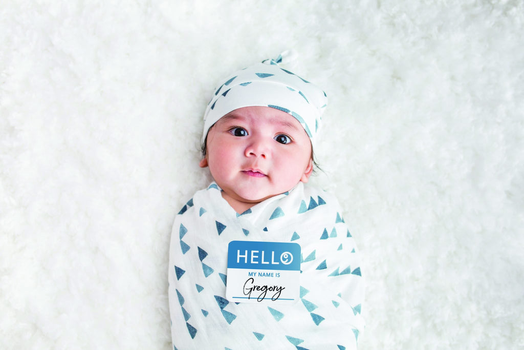 Triangle Blue Hello World Hat and Swaddle Set