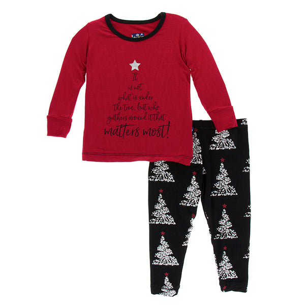 Midnight Foil Tree Pajama Set (Please note it's all over print and not a red top with graphic)