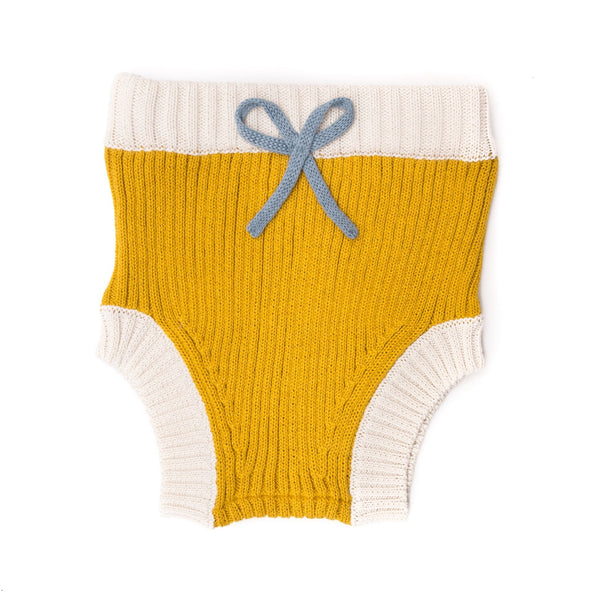 Yellow & Natural & Blue Knitted Bloomer