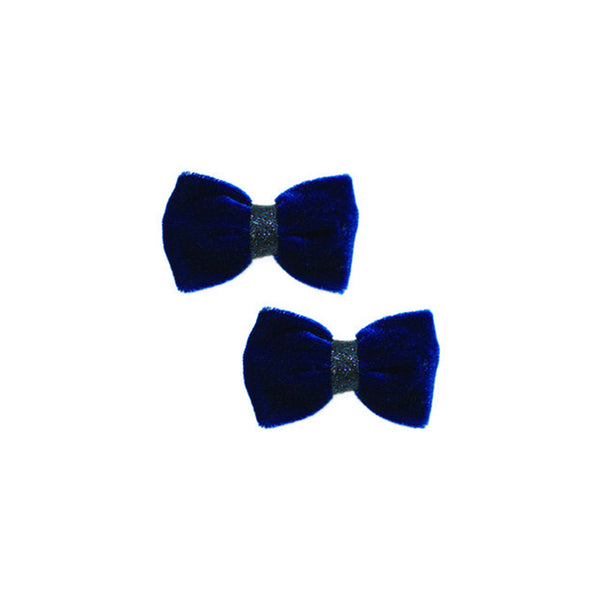 Blair Blue Velvet Mini Bow Clip Set