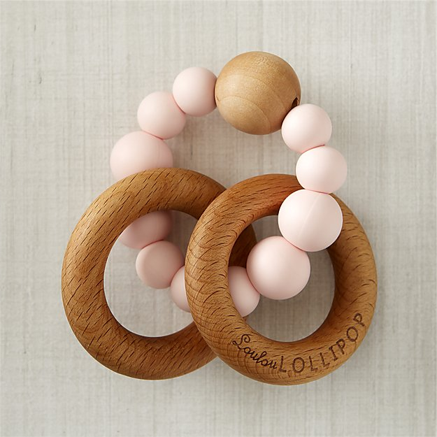 Bubble 2 Wood Teether and Rattle (multiple colors)