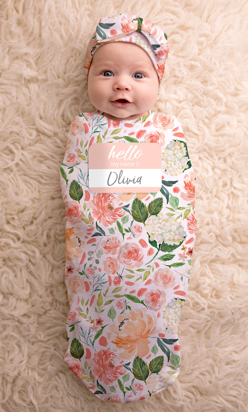 Peach Floral Cutie Cocoon & Hat