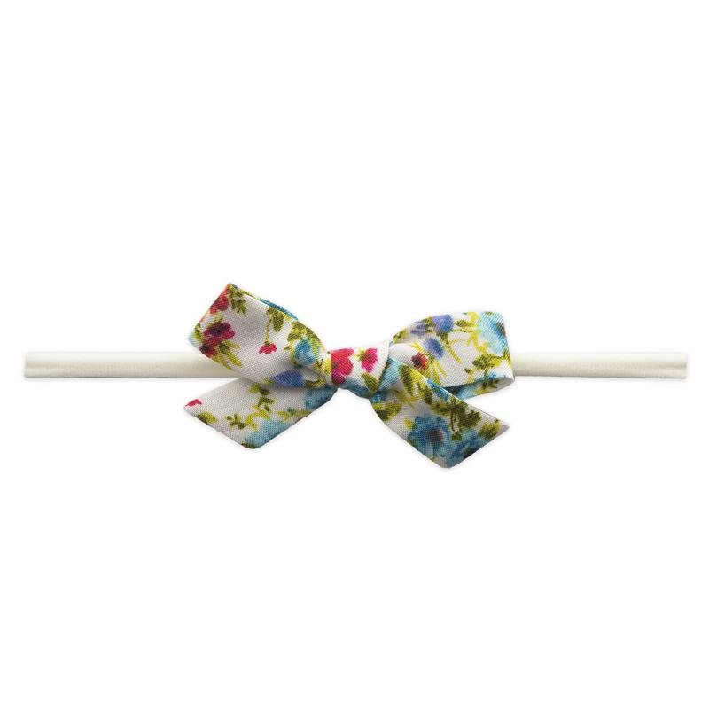 Turquoise Floral Cotton Print Bow