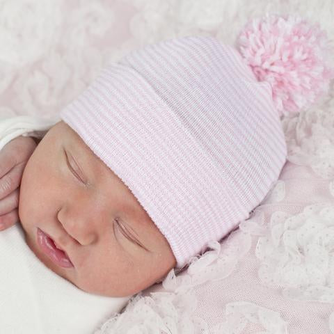 Pink and White Stripe Mixed Pom Pom Beanie
