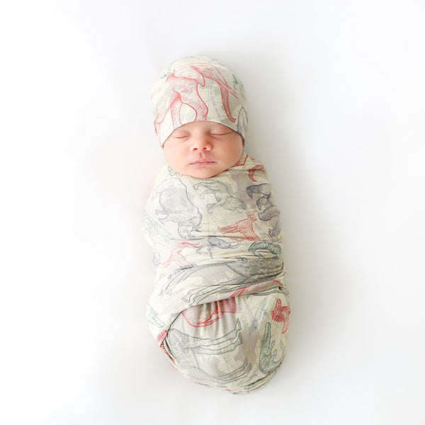 Safari Infant Swaddle with Beanie Set