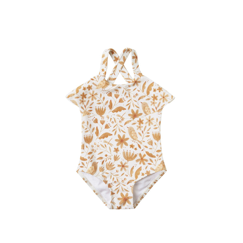 Garden Birds Ruffle One Piece