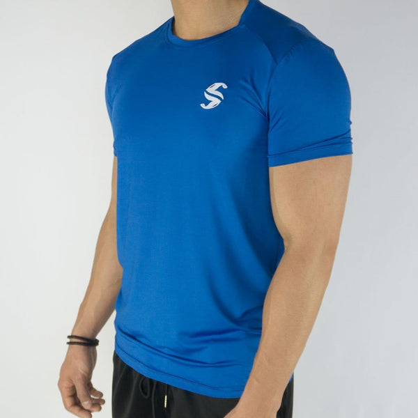 Signature Compression Tee - Sweat Industry Apparel Electric Blue Side