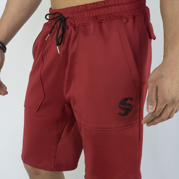 Training Shorts - Sweat Industry Apparel Burgundy Front