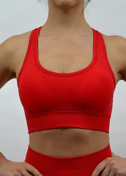 Seamless Flex Sports Bra- Sweat Industry Apparel Hot Red Front