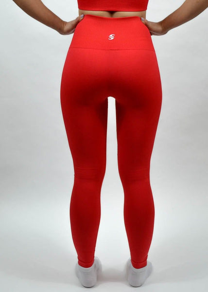 Seamless Flex Leggings- Sweat Industry Apparel Hot Red Back