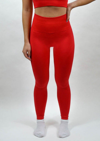 Seamless Flex Leggings- Sweat Industry Apparel Hot Red Front