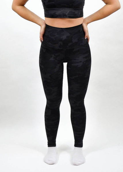 Elemental Leggings - Sweat Industry Apparel Black Camo Front
