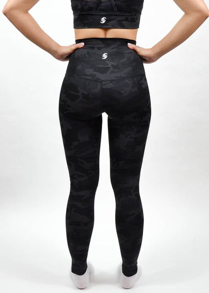 Elemental Leggings - Sweat Industry Apparel Black Camo Back