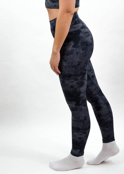 Legacy Leggings - Sweat Industry Apparel Black Tie Dye Side
