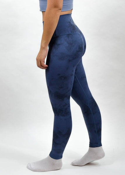 Legacy Leggings - Sweat Industry Apparel Blue Tie Dye Side