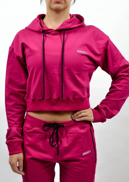 SI Jogger Crop Hoodie- Sweat Industry Apparel Fuchsia Front
