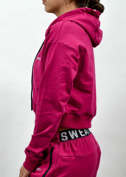 SI Jogger Crop Hoodie- Sweat Industry Apparel Fuchsia Side