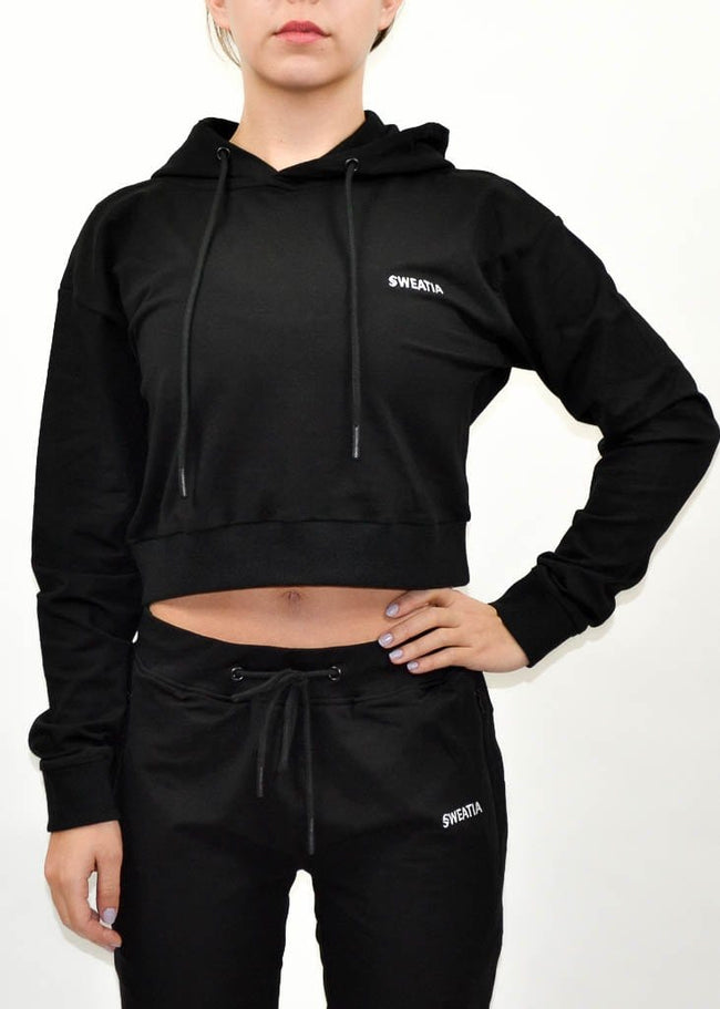 SI Jogger Crop Hoodie- Sweat Industry Apparel Black Front