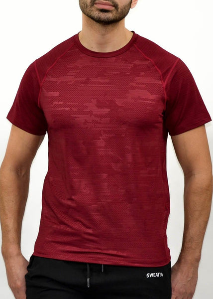 Military Compression Tee - Sweat Industry Apparel Army Red Front