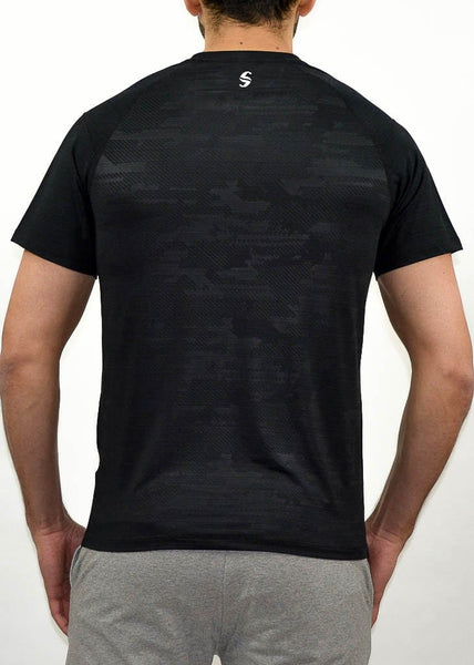 Military Compression Tee - Sweat Industry Apparel Army Black Back