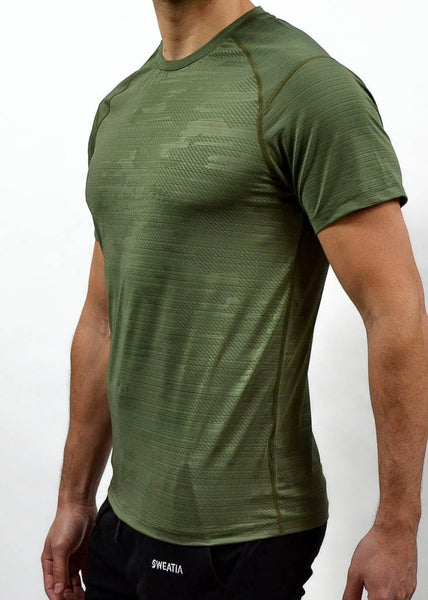 Military Compression Tee - Sweat Industry Apparel Army Green Side