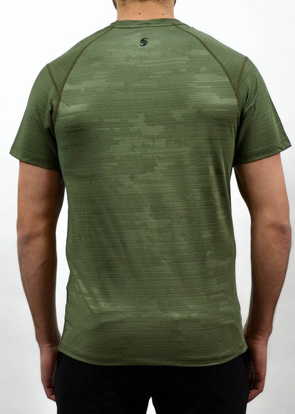 Military Compression Tee - Sweat Industry Apparel Army Green Back