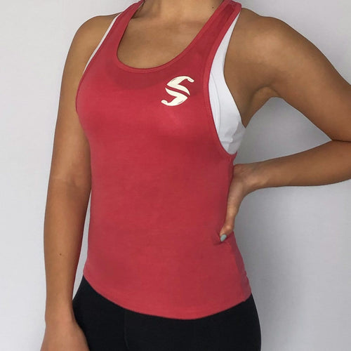 Racerback Tanktop - Sweat Industry Apparel Dusty Cherry Side