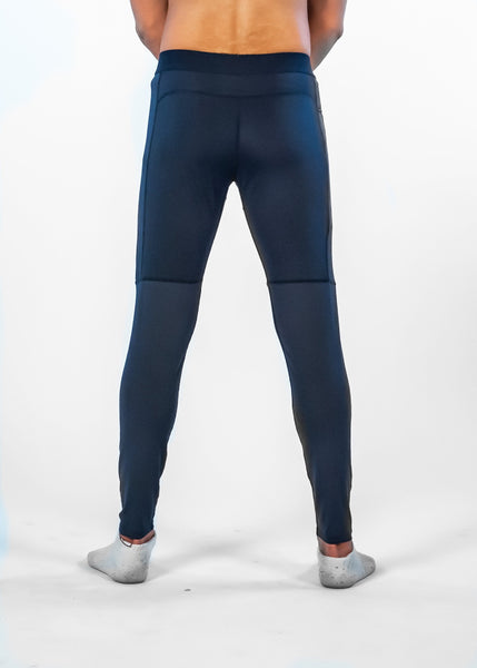 Men's Power Compression Pants - Sweat Industry Apparel Navy Back