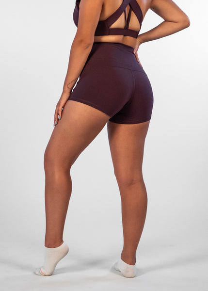 Ciel Booty Shorts - Sweat Industry Apparel Plum Back