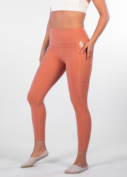 Oasis Leggings - Sweat Industry Apparel Coral Front
