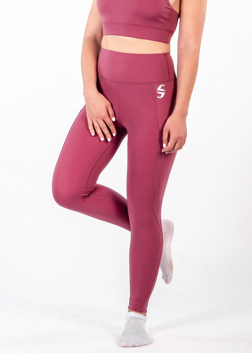Oasis Leggings - Sweat Industry Apparel Magenta Side