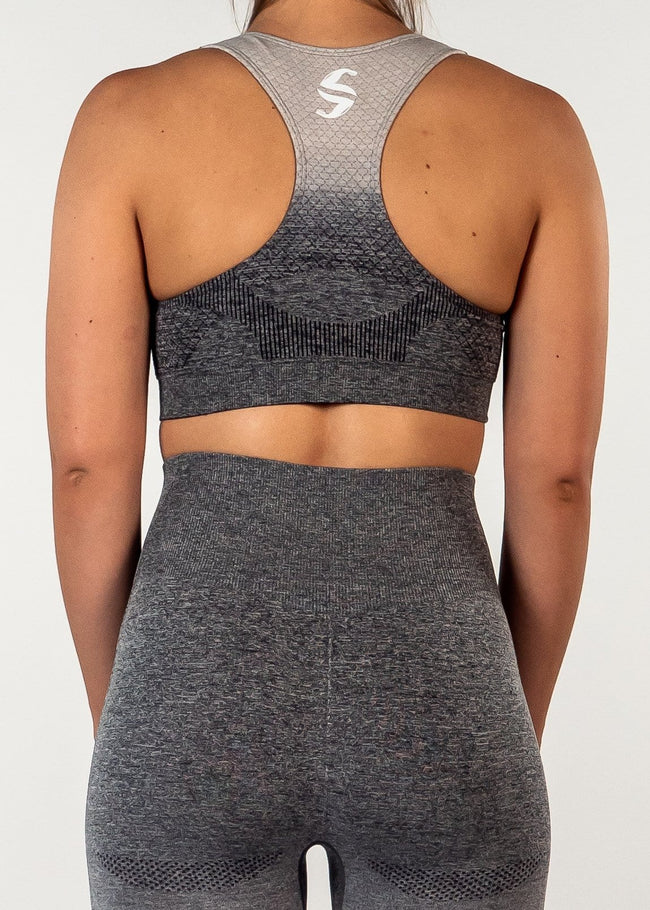 Seamless Eden Sports Bra - Gradient Grey-Back
