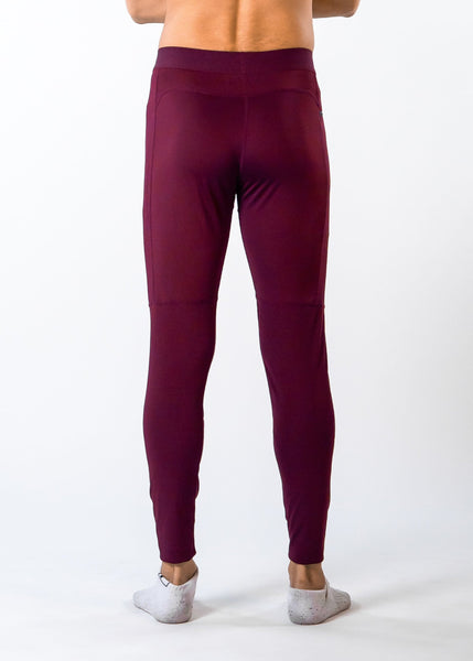 Men's Power Compression Pants - Sweat Industry Apparel Burgundy Back
