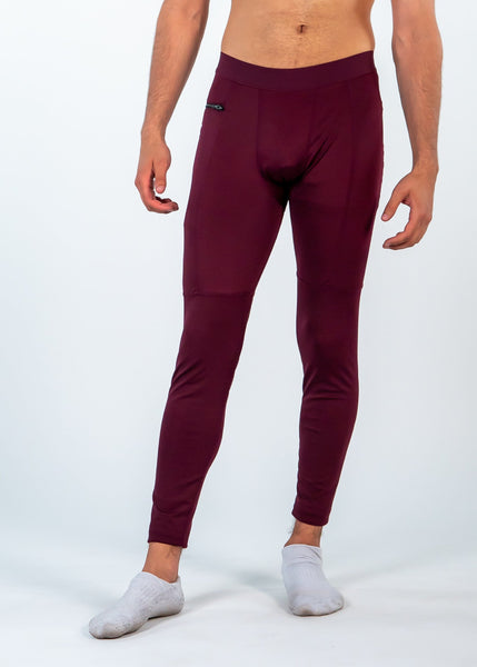 Men's Power Compression Pants - Sweat Industry Apparel Burgundy Front