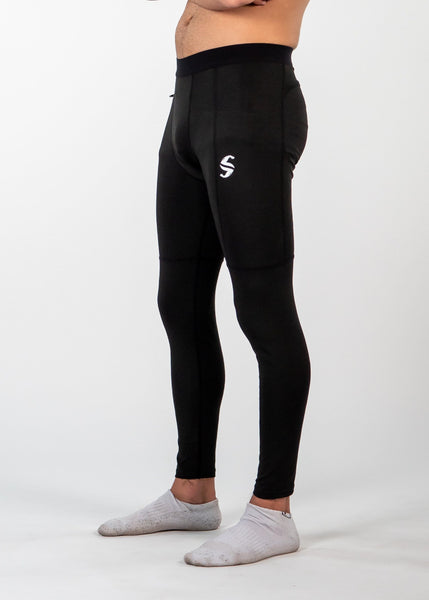 Men's Power Compression Pants - Sweat Industry Apparel Black Front