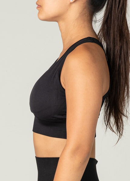 Vanquish Seamless Sports Bra - Sweat Industry Apparel Black Side