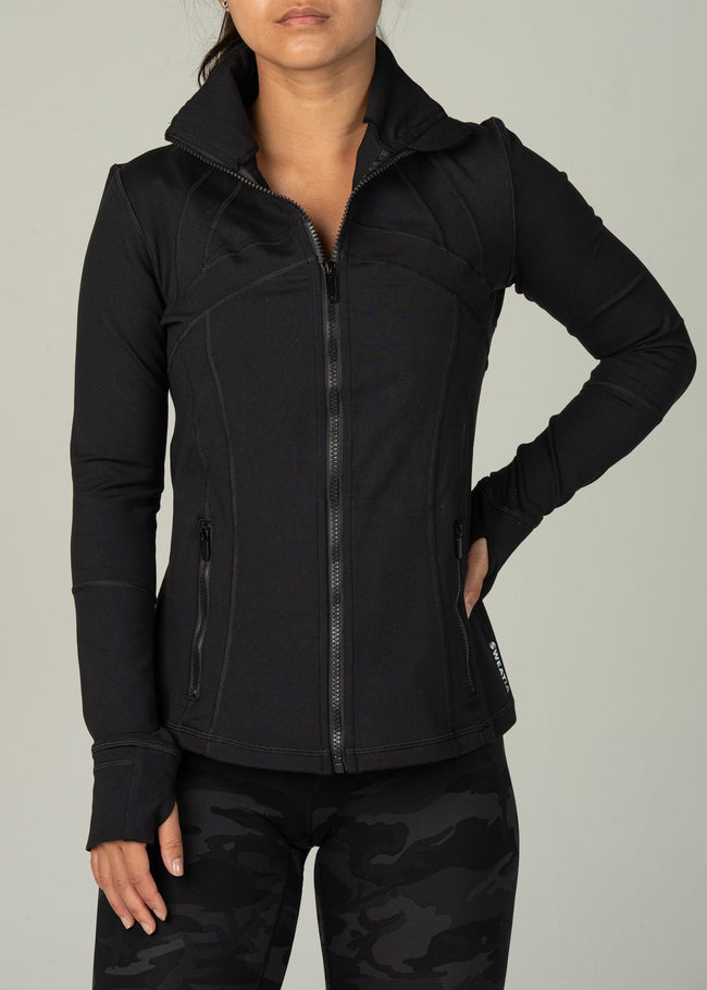 Sweatia Effortless Jacket-Black-Front
